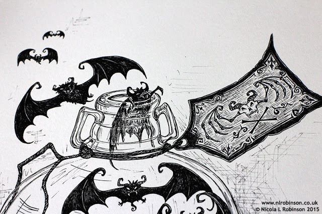 Bottle of bats Pen and ink halloween illustration © Nicola L Robinson All rights reserved www.nlrobinson.co.uk