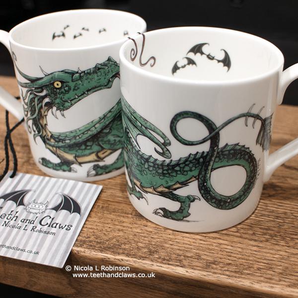 Green Dragon English Fine Bone China Mugs © Nicola L Robinson www.teethandclaws.co.uk