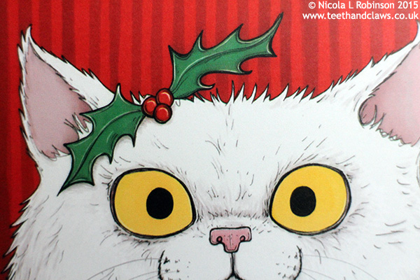 Christmas Cat illustration © Nicola L Robinson All rights reserved www.teethandclaws.co.uk