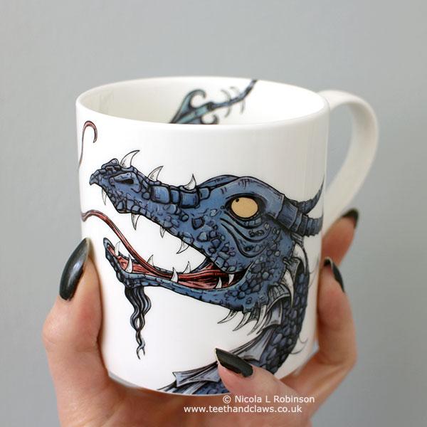 Dragon Mug, Dragon gift by Nicola L robinson www.teethandclaws.co.uk Handmade in the UK, Fine Bone China Dragon Mug